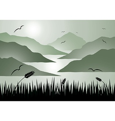 Island view with grass vector