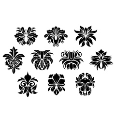 Vintage black floral design elements in damask vector
