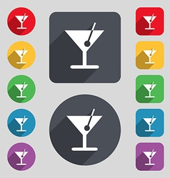 Cocktail icon sign a set of 12 colored buttons and vector