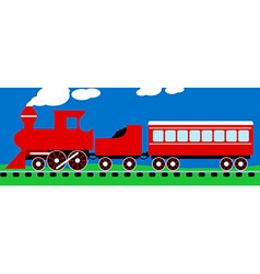 Cute simple red steam train on rail tracks vector