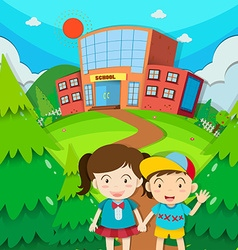 Students boy and girl at school vector image