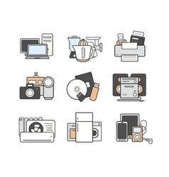 Household icons set color vector
