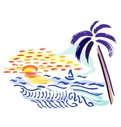 Palm sunset and sea vector