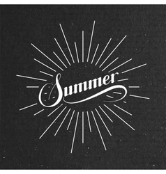 Summer retro label with light rays vector