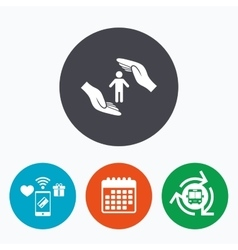 Human life insurance sign icon hands protect vector