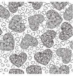 Adult coloring book page with hearts vector