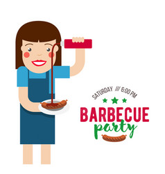 Barbecue party cartoon people vector