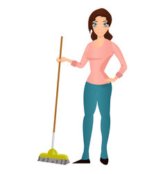 beautiful young woman housewife with a mop vector image vector image