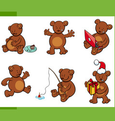 Cartoon bear animal characters set vector