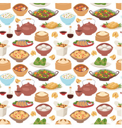 Chinese traditional food steamed dumpling asian vector