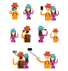 Couple taking photos in action character set vector