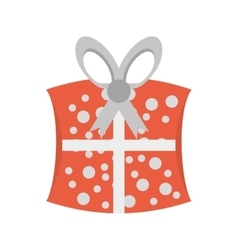 cute gift box dotted ribbon vector image