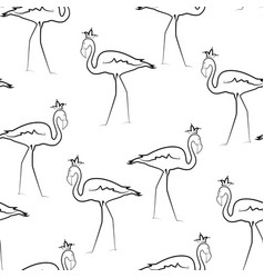 Exotic flamingo birds crown line drawing pattern vector
