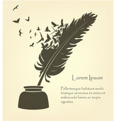 feather with flying birds and ink vector image vector image