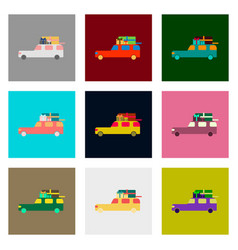 Flat assembly icons of car gifts vector
