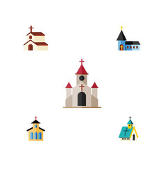 Flat icon church set of christian catholic vector