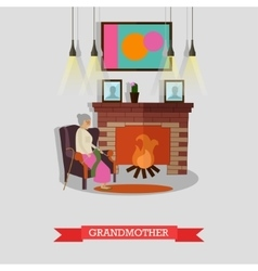 grandmother sitting in vector image vector image