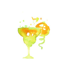 Green cocktail alcohol mixed drink or lemonade vector
