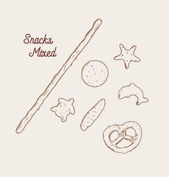 hand drawn snack pretzel vintage vector image vector image