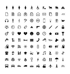 Large set of universal different simple black vector