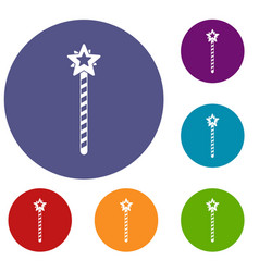 Magic wand icons set vector