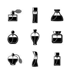 Perfume icons set with different shapes of bottles vector