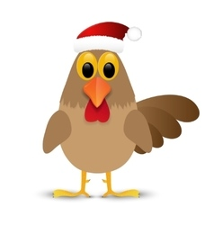 Rooster in santa hat isolated on white background vector
