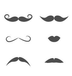 Set of mustaches and lips on white background vector image