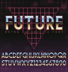 Shiny chrome alphabet in 80s retro futurism style vector