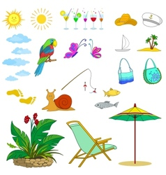 Summer objects vector image vector image
