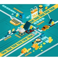 Tax Isometric Concept vector image vector image