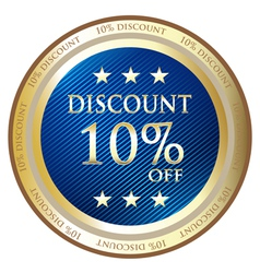 Ten Percent Discount Blue Medal vector image vector image