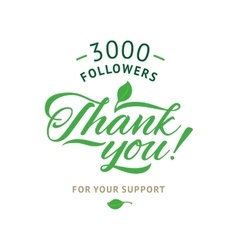 Thank you 3000 followers card ecology vector image vector image