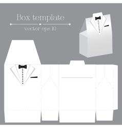 Tuxado box template white color vector