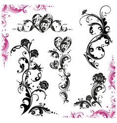 Vintage set flowers vector image vector image