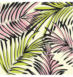 Yellow pink palm leaves beach exotic vector