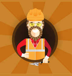 Hipster builder with beard giving thumb up vector
