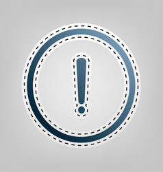 exclamation mark sign  blue icon with vector image