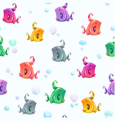 seamless pattern with cute colorful cartoon fishes vector image