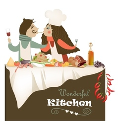 Couple cooking meal vector