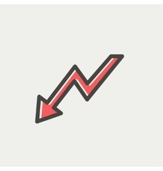 Lightning arrow downward thin line icon vector