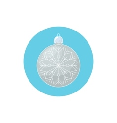 Colorful icon christmas silver ball with snowflake vector