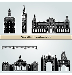 Seville landmarks and monuments vector
