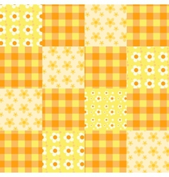 Seamless patchwork pattern orange vector