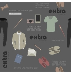 Seamless stylish clothes and attributes hipster vector