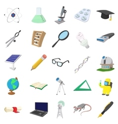 Science icons set cartoon style vector