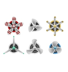 Turbines icons aircraft propeller turbines vector