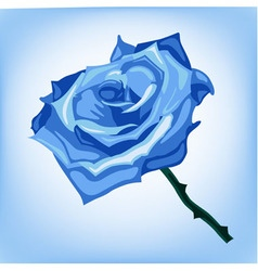 Blue frozen rose on a blue background vector