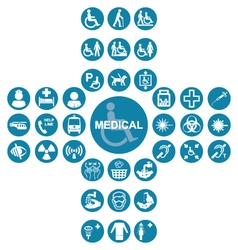 Blue medical and health care icon collection vector