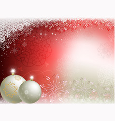 christmas red beige background with two white vector image vector image